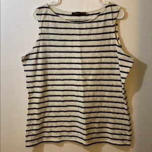 THE LIMITED Lace Print Tank Blouse w/ Navy Stripes